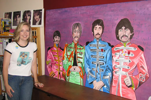 This massive and very colorful painting, which Sorbo painted in high school, depicts the Fab Four in Sgt. Pepper attire.
