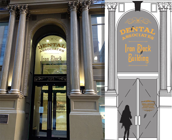 Dental Associates Iron Block Buliding Corporate Entrance