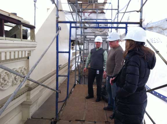 Getting an up-close view of the building exterior during the renovation.