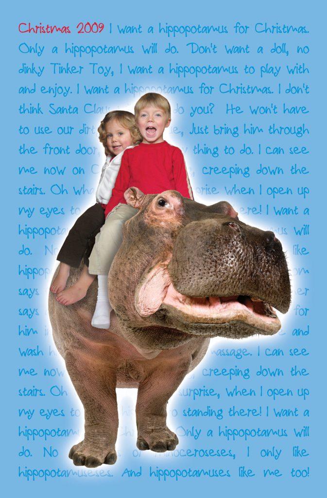 Hippo Christmas Card